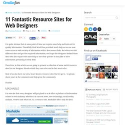 11 Fantastic Resource Sites for Web Designers