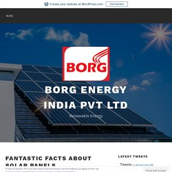 Fantastic Facts About Solar Panels – Borg Energy India Pvt Ltd