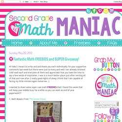 Second Grade Math Maniac: Fantastic Math FREEBIES and SUPER Giveaway!