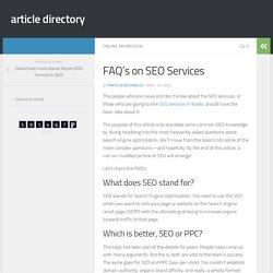 FAQ's on SEO Services