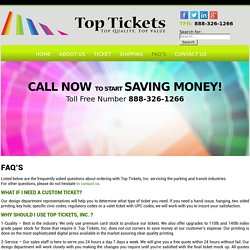 FAQ's - Top Tickets Inc