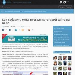 FAQ: Как добавить мета-теги для категорий сайта на uCoz