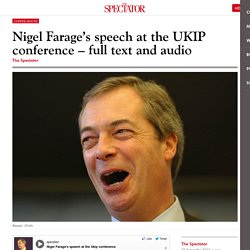 Nigel Farage's speech at the UKIP conference - full text and audio