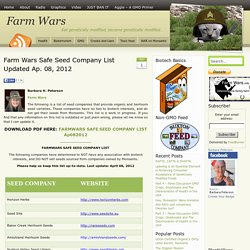 Farm Wars Safe Seed Company List