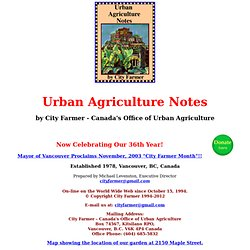 City Farmer's Urban Agriculture Notes