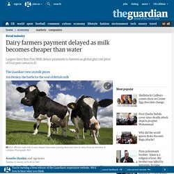 Dairy farmers payment delayed as milk becomes cheaper than water