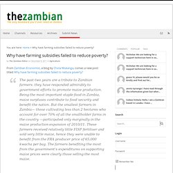 Why have farming subsidies failed to reduce poverty? - By The Zambian For Zambia