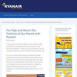 Fly High and Reach the Farthest of Our Planet with Ryanair