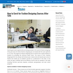 How to Enrol for Fashion Designing Courses After 12th - CGC