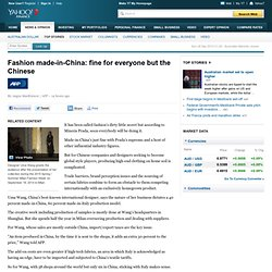 Fashion made-in-China: fine for everyone but the Chinese