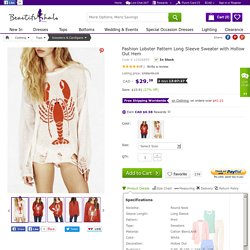 Fashion Lobster Pattern Long Sleeve Sweater with Hollow Out Hem