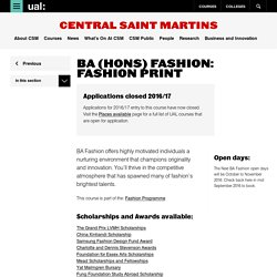 BA (Hons) Fashion: Fashion Print - Central Saint Martins - UAL