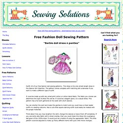 Barbie Doll Pattern, Dress & Panties