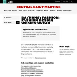 BA (Hons) Fashion: Fashion Design Womenswear - Central Saint Martins - UAL