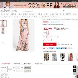 Fashionable Round Collar Sleeveless Floral Print Women's Maxi Dress