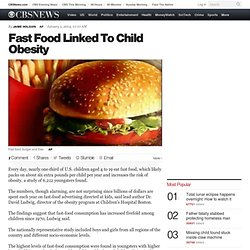 Fast Food Linked To Child Obesity
