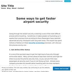 Some ways to get faster airport security – Site Title