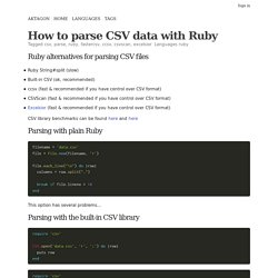 How to parse CSV data with Ruby - Ruby - csv, parse, ruby, fastercsv, ccsv, csvscan, excelsior