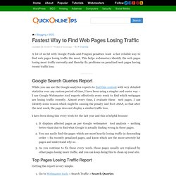 Fastest Way to Find Web Pages Losing Traffic