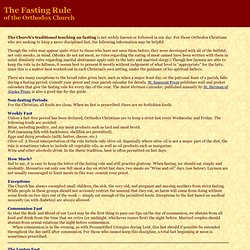 The Fasting Rule of the Orthodox Church