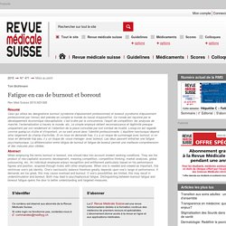 Fatigue en cas de burnout et boreout - revmed