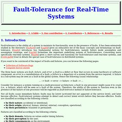 Fault-Tolerance for Real-Time Systems