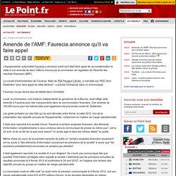 Amende de l'AMF: Faurecia annonce qu'il va faire appel