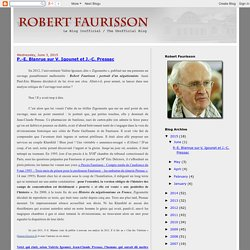 ROBERT FAURISSON: P.-E. Blanrue sur V. Igounet et J.-C. Pressac