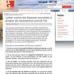 Géoconfluences - Lutter contre les fausses nouvelles à propos du CoVid19- Coronavirus