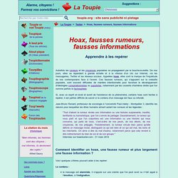 Hoax, fausses rumeurs, fausses informations