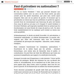 Faut-il privatiser ou nationaliser ?