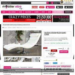 Fauteuil design relax blanc Clara en simili cuir de haute qualité, confortable et design