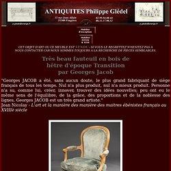Beau fauteuil en bois de hêtre d'époque Transition par Georges Jacob