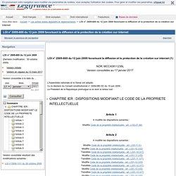 LOI n° 2009-669 du 12 juin 2009 favorisant la diffusion et la protection de la création sur internet