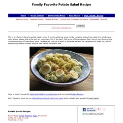 Favorite Potato Salad Recipe, How To Make Potato Salad, Whats Cooking America