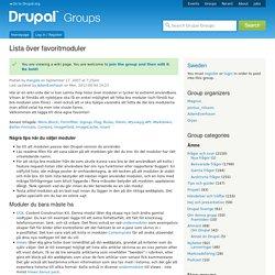 Lista över favoritmoduler | groups.drupal.org