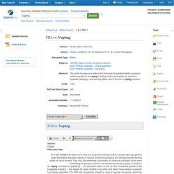 FDA vs. Vaping: EBSCOhost