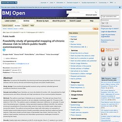 Feasibility study of geospatial mapping of chronic disease risk to inform public health commissioning