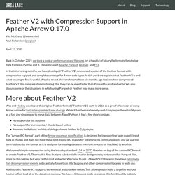 Feather V2 with Compression Support in Apache Arrow 0.17.0