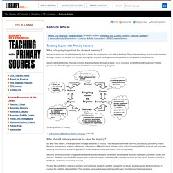 Feature Article - Inquiry Learning, Summer 2009- Teaching with Primary Sources