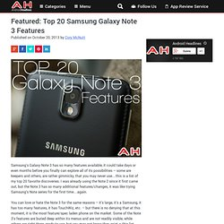 Featured: Top 20 Samsung Galaxy Note 3 Features