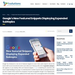 Google's New Featured Snippets Displaying Expanded Subtopics