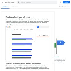 Featured snippets in search - Search Console Help