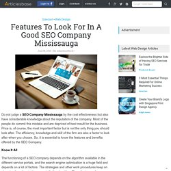 Features To Look For In A Good SEO Company Mississauga