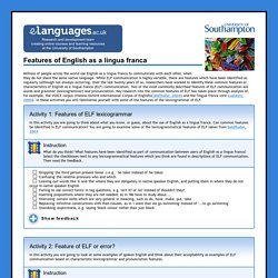 Features of English as a lingua franca
