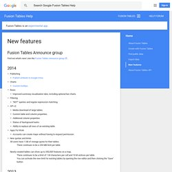 What's new in Fusion Tables? - Google Fusion Tables Help