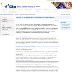 EFSA 23/01/15 Bridging the knowledge gap on non-plastic food contact materials