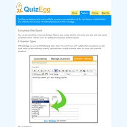 Features in the online test maker - QuizEgg