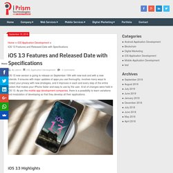 iOS 13 Features and Released Date with Specifications