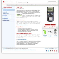 83 Plus - Features Summary by Texas Instruments